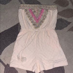 Xhilaration cream with embroidered front Romper
